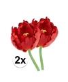 2x rode tulp deluxe kunstbloemen 25 cm