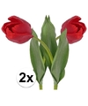 2x rode tulp kunstbloemen 48 cm