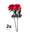 2x rood gele rozen simone kunstbloemen 45 cm