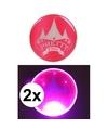 2x roze pretty pink circus buttons met licht