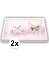 2x roze roosjes van satijn 12 cm
