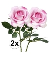 2x roze rozen carol kunstbloemen 37 cm