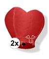 2x wensballon rood hart 100 cm