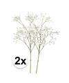 2x witte gipskruid kunstbloemen 65 cm