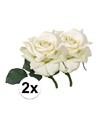 2x witte roos deluxe kunstbloemen 31 cm