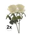 2x witte rozen simone kunstbloemen 45 cm