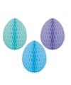 3 decoratie paaseieren pakket blauwtinten 10 cm