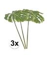 3 x groen gatenplant kunstplant blad 80 cm