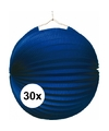 30x lampionnen blauw 22 cm