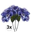 3x blauwe hortensia kunstbloemen tak 28 cm