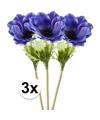 3x blauwe kunst anemoon tak 47 cm