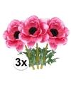 3x cerise anemoon kunstbloemen 47 cm