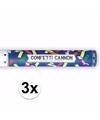 3x confetti kanon metallic kleuren mix 40 cm