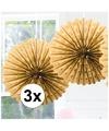 3x decoratie waaier goud 45 cm