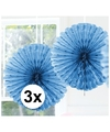 3x decoratie waaier licht blauw 45 cm