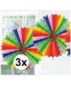 3x decoratie waaier regenboog kleuren 45 cm