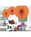 3x decoratie waaier zalm roze 45 cm