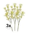 3x geel groene kroonkruid kunstbloemen tak 68 cm