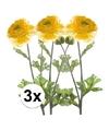 3x gele ranonkel kunstbloemen tak 45 cm