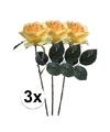 3x gele rozen simone kunstbloemen 45 cm