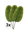 3x groen bananenblad kunstplant tak 92 cm