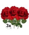 3x kunstbloem roos carol rood 37 cm