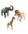 3x opblaasbare dieren olifant leeuw en giraffe