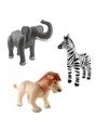 3x opblaasbare dieren olifant leeuw en zebra