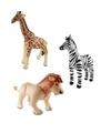 3x opblaasbare dieren zebra leeuw en giraffe