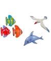 3x opblaasbare maritiem decoratie zeedieren type 3
