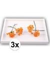 3x oranje roosjes van satijn 12 cm