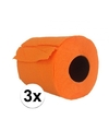 3x oranje toiletpapier