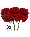 3x rode rozen deluxe kunstbloemen 31 cm