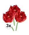 3x rode tulp deluxe kunstbloemen 25 cm