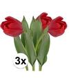 3x rode tulp kunstbloemen 48 cm