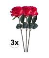 3x rood gele rozen simone kunstbloemen 45 cm