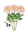 3x roze kunst dahlia takken 70 cm
