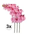 3x roze kunst orchidee tak 100 cm