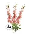 3x roze kunst ridderspoor tak 70 cm