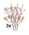3x roze magnolia kunstbloemen tak 105 cm