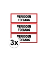 3x verboden toegang stickers 14 8 x 10 5 cm