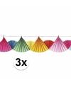 3x waaier slinger gekleurd 6 meter