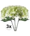 3x wit groene kunst hortensia tak 28 cm
