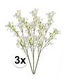 3x wit groene kunst kroonkruid tak 68 cm