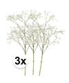 3x witte gipskruid kunstbloemen 65 cm