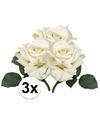 3x witte roos deluxe kunstbloemen 31 cm