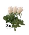 3x witte roos kunstbloemen 35 cm