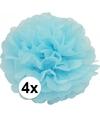 4 lichtblauwe decoratie pompoms 35 cm
