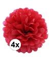 4 rode decoratie pompoms 35 cm