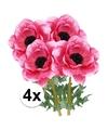 4x cerise anemoon kunstbloemen 47 cm